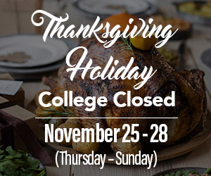 College Closed - November 23-26 - Thanksgiving